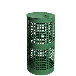 10 Gallon Green Steel Trash Receptacle
