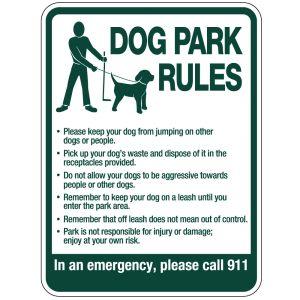 Dog Park Rules Sign - Standard