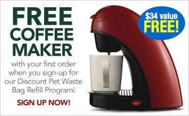 Free Coffee Maker with Discount Refill Program Sign up